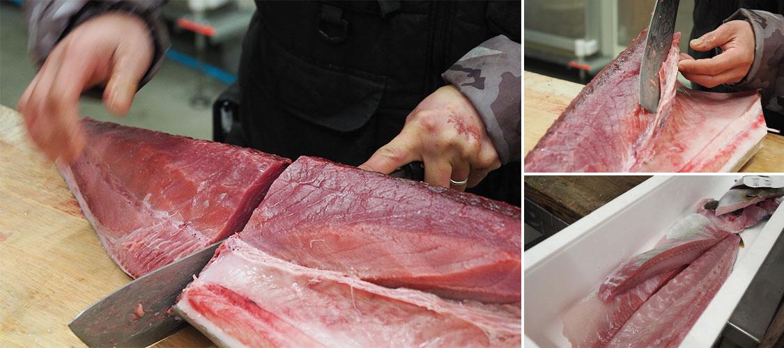 津曲商店で競り落した鮮魚を加工